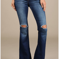 Mid Rise Flare Jeans with Destroyed Knees