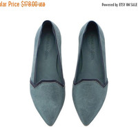 LAST SIZES SALE New, Colleen Denim Blue, Denim shoes, Leather shoes, Leather Flats, Handmade shoes