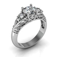 Art Deco Ring -  Antique Style Sterling Silver Cubic Zirconia Floral  Engagement  Wedding Anniversary and Promise Solitaire Ring