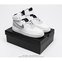 NIKE  WMNS AIR FORCE1HIGH PACK  Trending Women's men Leather Side Zip Lace-up Ankle Boots Shoes High Boots