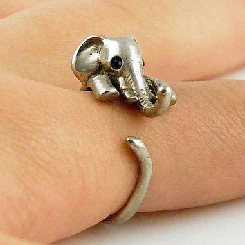 Animal Wrap Ring - Elephant - White Bronze - Adjustable Ring - keja jewelry