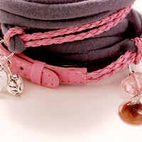 PINK Leather and GRAY Stretch Wrap Bracelet Fashion accessory Women Teens Wrist Tattoo Cover