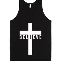 I Believe (Cross) (Tank)-Unisex Black Tank