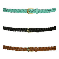3 Braided Skinny Belts   Shop Accessories at Wet Seal