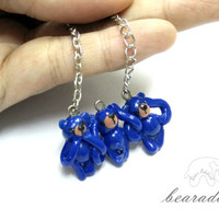 three miniature bear  charm necklace with 20 inch chain necklace