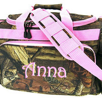 Personalized Duffle Bag Camouflage Mossy Oak Camo Luggage Gym Travel Monogrammed Pink Trim