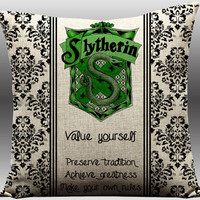 harry potter, slytherin, harry potter pillow, slytherin pillow, harry potter, potter throw pillow