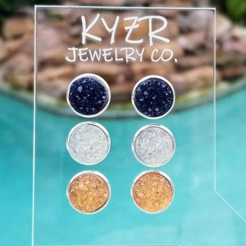 Druzy earring set- Navy/ White and Apricot drusy stud set
