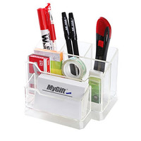 Clear 5 Compartment Compact Multipurpose Desktop Office & School Supplies / Stationary Organizer Case