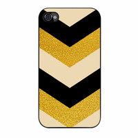 Chevron Classy Black And Gold Printed iPhone 4s Case