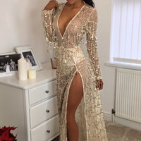 Sexy Mesh Dress Women See Through Deep V Long Sleeve High Slit Sequin Tassel Floor-sweeping Party Dresses Gold Beach Cover Smock