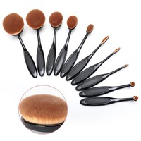 Proteove Oval Face Powder Brush and Toothbrush Curve Makeup Brushes Set, Set of 10