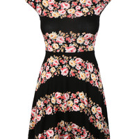 LE3NO Womens Sleeve Fit and Flare Skater Mini Dress (CLEARANCE)