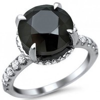 5.25ct Black Round Diamond Halo Carrie Engagement Ring 18k White Gold