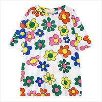 White Multi Color Floral Print T-Shirt