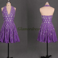 handmade short chiffon prom dress with crystals and sequins sexy halter v-neck dress for party discount unique beaded homecoming gowns hot