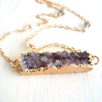 Druzy Bar Necklace Dipped Gold purple aubergine grey Gift for her Under 75