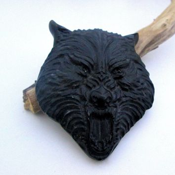 """ Stone of Truth"" Black Obsidian Wolf Totem"