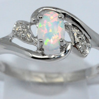 0.50 Ct Opal Oval Diamond Ring Sterling Silver Rhodium Finish White Gold Quality