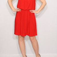 Red dress Short Bridesmaid dress Spaghetti strap dress