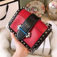 PRADA High Quality Classic Women Leather Shoulder Bag Rivet Crossbody Satchel Red