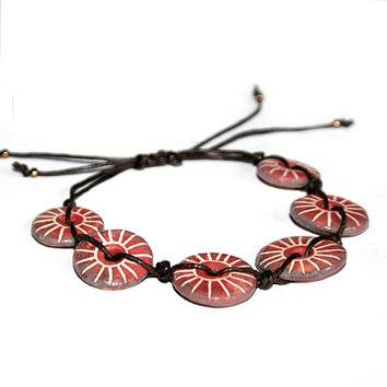 Adjustable ceramic jewelry bracelet - red, orange and white, striped, spiritual, minimalist, city life, rustic jewelry, carved, gift for her
