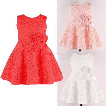 Girl Kid Lace Sleeveless Tutu Party Dress Flower Pageant Costume 20120|26601 Children's Clothing = 1745569924