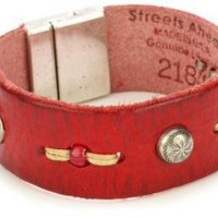"""Streets Ahead 1"""" Red Vintage Leather with Silver-Tone Studs Cuff Bracelet: Jewelry: Amazon.com"""