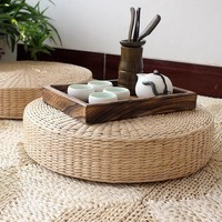 Round Meditation Zafu Chair Natural Straw Floor Cushion