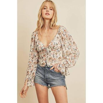Floral Button Down Plunging Top