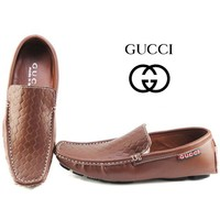 Gucci Men's Fashion Edgy Casual Tartan Flats Shoes