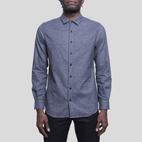 Flannel Officer Shirt Button Down / Charcoal