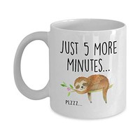 Hasdon-Hill Funny Sloth Cup, Just 5 More Minutes Coffee Mug, Cute Tea Lazy Gift For Her Him, Birthday Christmas, 11 OZ White Ceramic
