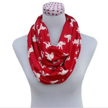 Sports Team Accessories Elephant and Red Houndstooth Infinity Scarf