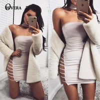 sexy women dress 2017 Elegant evening party summer dress vestidos Autumn hollow out club bandage dresses Strapless Club Wear