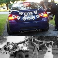 JUST MARRIED Wedding Banner Party Car Heart Decoration Bunting Garland Handmade (Color: White) [7983657543]