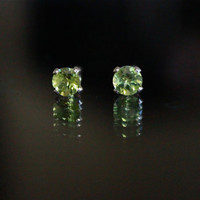 Tiny Studs, Gemstone Studs, Peridot Earrings, Green, Sterling Silver studs