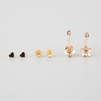 Full Tilt 3 Pairs Flower/Heart Earrings Gold One Size For Women 25277962101