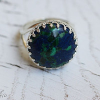 Round 925 sterling silver ring with gemstone Azurite, Azurite ring, Sterling silver ring with Azurite