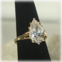 Rhinestone Ring, Statement Ring, Pear Rhinestone, Gold Ring, EDCO Ring, Cocktail Ring, Dinner Ring, Solitaire