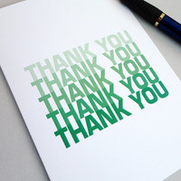 Thank you card green ombre print any occasion thanks