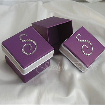 Wedding Favor Box, Purple And Silver,  Personalized Rhinestone Initial, Candy Holder, Sweet 16 Party, Set Of 24