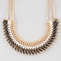 Full Tilt Braided Faux Leather Statement Necklace Gold One Size For Women 25575962101
