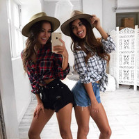 Plaid Hot Sale Summer Tops Shirt [11692849423]