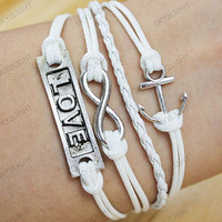white Bracelets-infinite love Bracelets,anchor bracelets,charm bracelets,children bracelets ,gifts for him her,good luck gifts S021