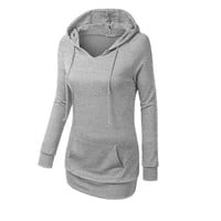 Women's Plain Color Long Sleeves Hoodie with Front Pocket and Draw Cord