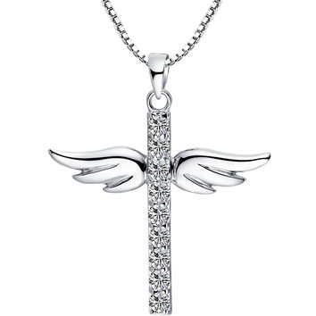 Sterling Silver Angel Wing Cross W. Cubic Zirconia Pendant Necklace
