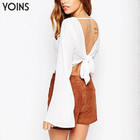 Fashion Women Knot Back Crop Tops with Bell Sleeve Sexy Backless T-shirt