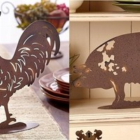 Farm Barnyard Animal Figure Metal Silhouette Cow Pig Rooster Sheep Country Decor