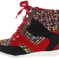 BETHANY17 RED TWEED LACE UP SNEAKER WEDGE